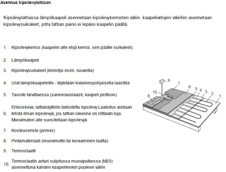 jatkuvan lattialämmityksen asennus